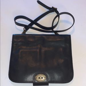 FOSSIL Blue leather messenger crossbody bag purse